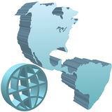 Globe earth western hemisphere deep blue 3D symbol. A symbol of the  western hemisphere of earth as a deep blue 3D symbol, and a 3D globe symbol Royalty Free Stock Image