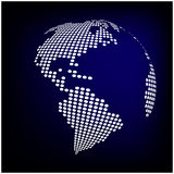 Globe earth world map - abstract dotted vector background.  Blue wallpaper illustration.  Stock Images