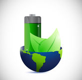 Globe and eco battery energy illustration design Stock Images