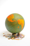 Globe, Economy. Globe over white background either with or without money Royalty Free Stock Photos