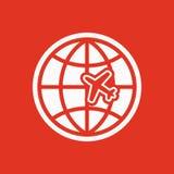 The Globe ed icona di viaggio dell'aereo Simbolo di trasporto piano Immagini Stock