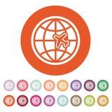 The Globe ed icona di viaggio dell'aereo Simbolo di trasporto piano Fotografia Stock