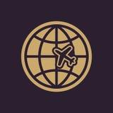 The Globe ed icona di viaggio dell'aereo Simbolo di trasporto piano Immagine Stock