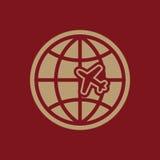 The Globe ed icona di viaggio dell'aereo Simbolo di trasporto piano Fotografia Stock Libera da Diritti