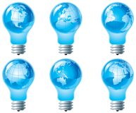 Globe and electric bulb Stock Images