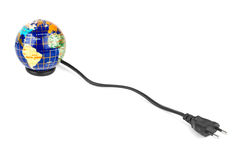 Globe and electrical cable Stock Photography
