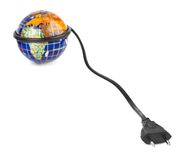 Globe and electrical cable Royalty Free Stock Images