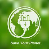 Globe and electrical plug icon. Vector illustration. Earth globe with power cable on bright green background Royalty Free Stock Photography