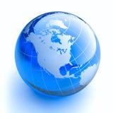 Globe en verre bleu sur le fond blanc Photos libres de droits