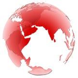 Globe en verre rouge translucide sur le fond blanc Image stock