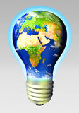 Globe energy. Light bulb as an earth globe Royalty Free Stock Images