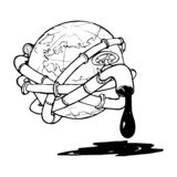 Globe entangled with oil pipelines. Illustration on the modern world vicious dependency on the fossil fuels. vector illustration
