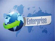 Globe enterprise sign illustration design. Over a world map background Stock Image