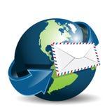 Globe and envelope royalty free illustration