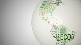 Globe of environment words spinning stock video footage