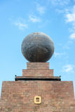 Globe on Equator Monument. Large metal globe on the top of the monument to the equator in Quito, Ecuador Royalty Free Stock Photo
