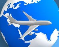 Globe et avion 003 Photographie stock libre de droits