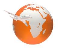 Globe et avion Images stock