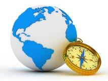 Globe et compas bleus Image libre de droits