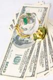 Globe et dollars en verre Images libres de droits