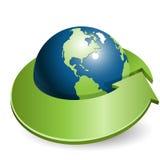 Globe et flèche verte illustration de vecteur