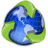 Globe et flèche verte illustration stock