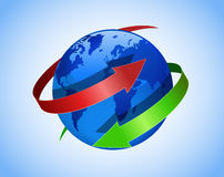 Globe et flèches. Photos libres de droits