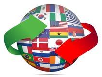 Globe et flèches d'indicateur Image libre de droits