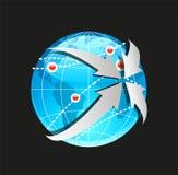 Globe et flèches de vecteur sur le fond blanc Image stock