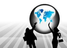 Globe et fond abstrait de silhouette Photo stock