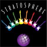 Globe et guitares colorées Photographie stock