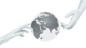 Globe et mains de la terre Photos stock