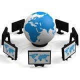 Globe et moniteurs Images libres de droits