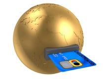 Globe et par la carte de crédit Image stock