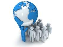 Globe et personnes de planète de la terre 3d rendent Photo libre de droits