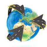 Globe et routes autour de lui. Photographie stock