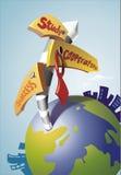Globe et signes Photos libres de droits