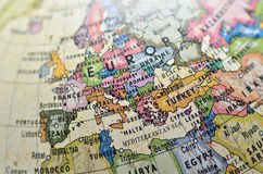 Globe Europe. Close-up of Europe in the colorful world map Stock Images