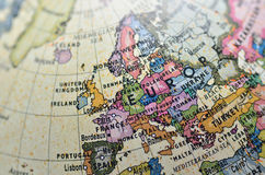 Globe Europe. Close-up of Europe in the colorful world map Royalty Free Stock Photography