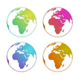 Globe Europe gradients set green, red, blue, orange. Eps10. Vector. Transparent background Stock Photos