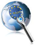 Globe Europe With Magnifying Glass Stock Images