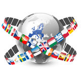Globe with 27 european union countries and flags. Vector illustration of globe with 27 european union countries and flags Royalty Free Stock Photo
