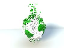 Globe explosion. White-green earth globe explosion Royalty Free Stock Photography
