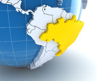 Globe with extruded continents, close-up on Brazil Royalty Free Stock Photography