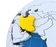 Globe with extruded continents, close-up on Iran Royalty Free Stock Photo
