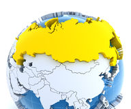 Globe with extruded continents, close-up on Russia Stock Images
