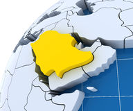 Globe with extruded continents, close-up on Saudi Stock Images