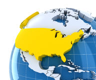 Globe with extruded continents, close-up on USA Royalty Free Stock Image