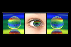 Globe And eye. Globe on a surface of a mirror. On a multi-coloured background Royalty Free Stock Photos