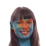 Globe face girl royalty free stock photos